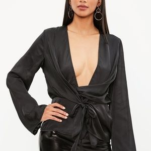 Misguided Wrap Blouse sm 6 Black Satin